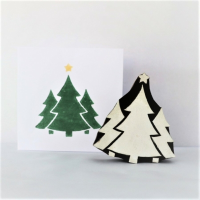 Indian Wooden Printing Block - Trio Of Christmas Trees