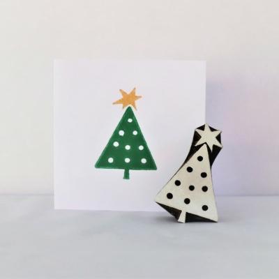 Indian Wooden Printing Block - Wonky Star Christmas Tree