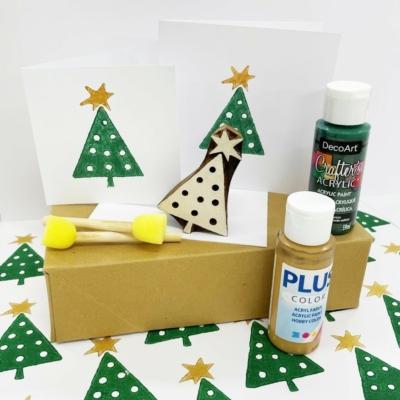 Wonky Star Christmas Tree Block Printing Kit